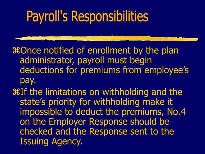Payroll's Responsibilities