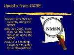 update from ocse