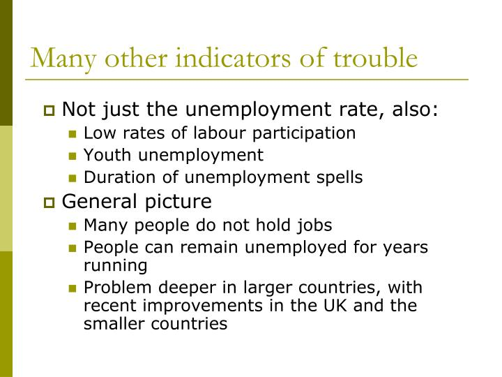 Many other indicators of trouble
