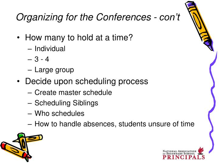Organizing for the Conferences - con't