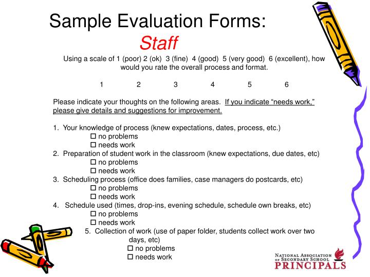 Sample Evaluation Forms: