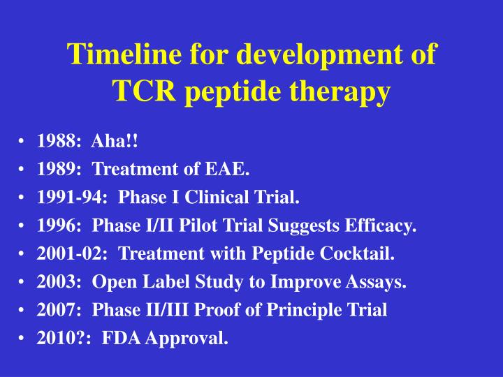 Timeline for development of TCR peptide therapy