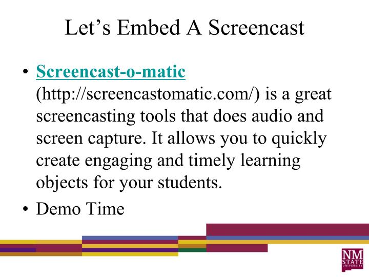 Let's Embed A Screencast