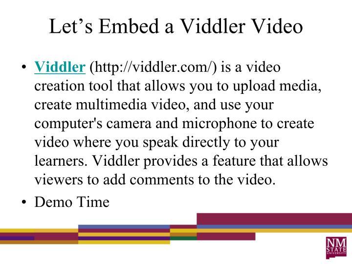 Let's Embed a Viddler Video