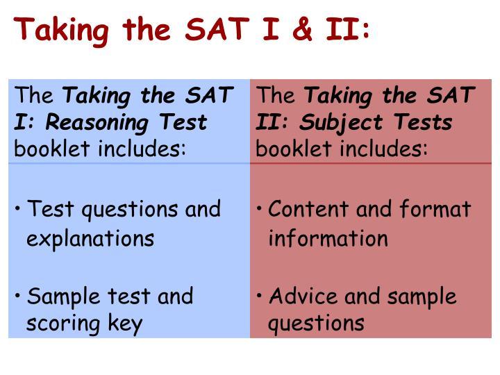 Taking the SAT I & II: