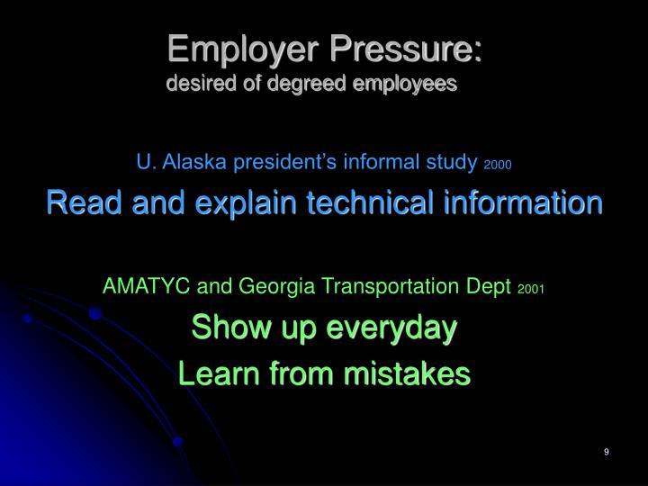 Employer Pressure: