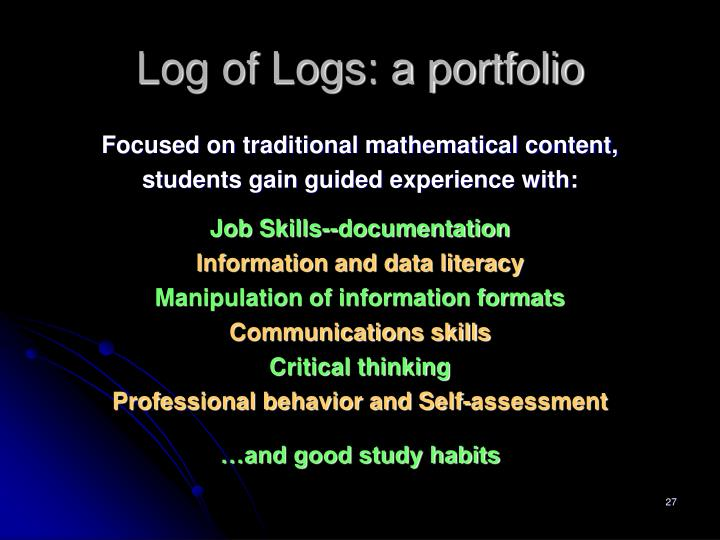Log of Logs: a portfolio