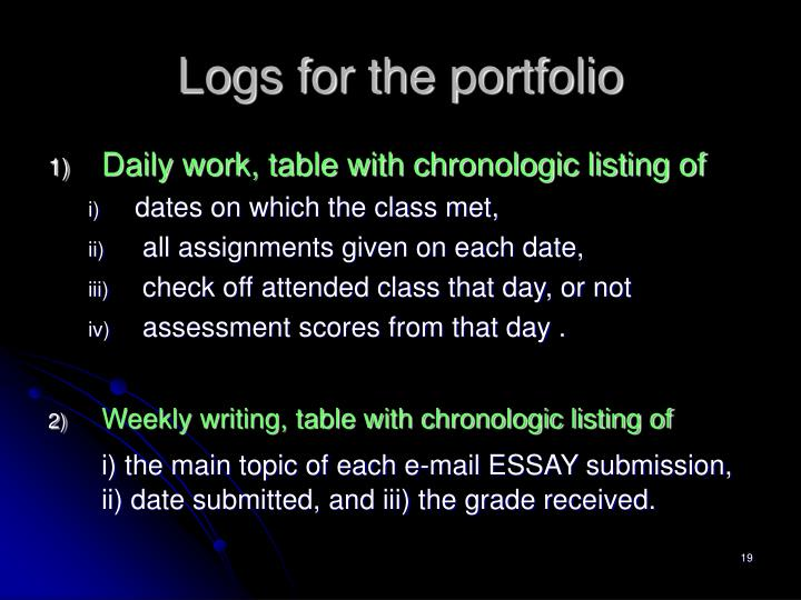 Logs for the portfolio