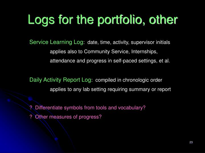 Logs for the portfolio, other