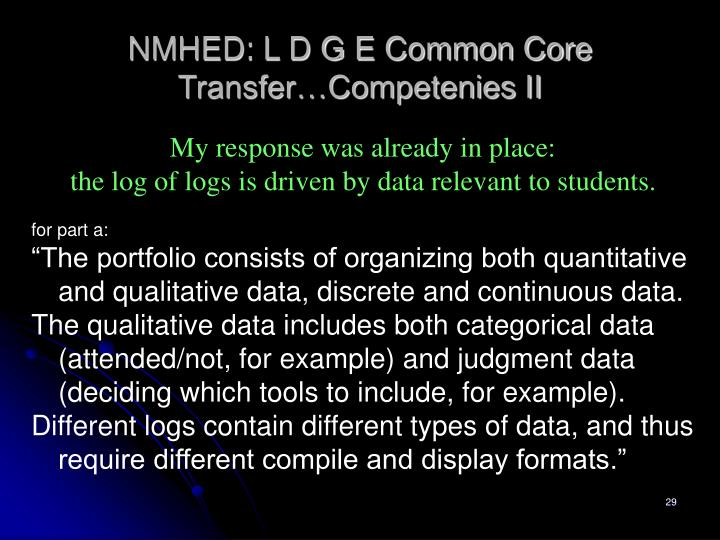NMHED: L D G E Common Core Transfer…Competenies II