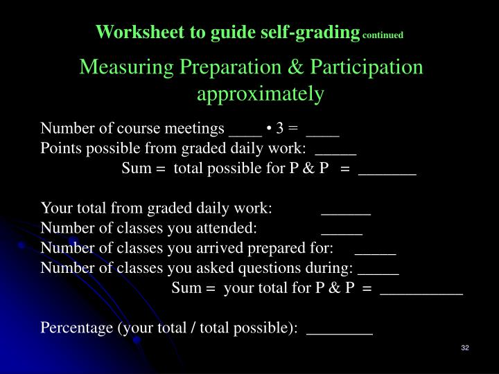 Worksheet to guide self-grading