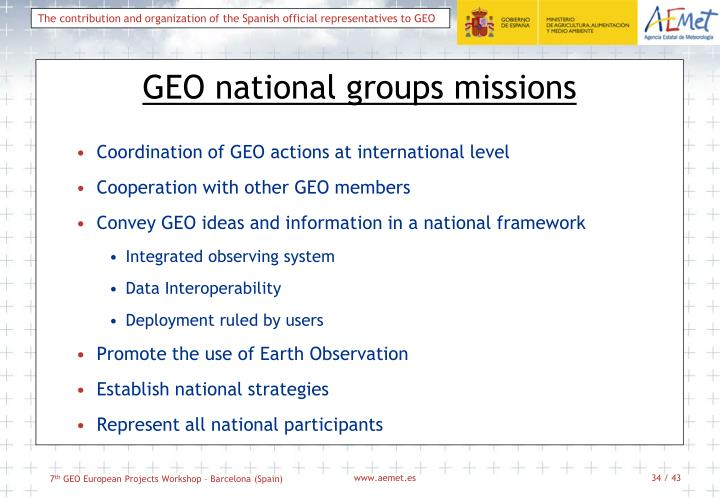 GEO national groups missions