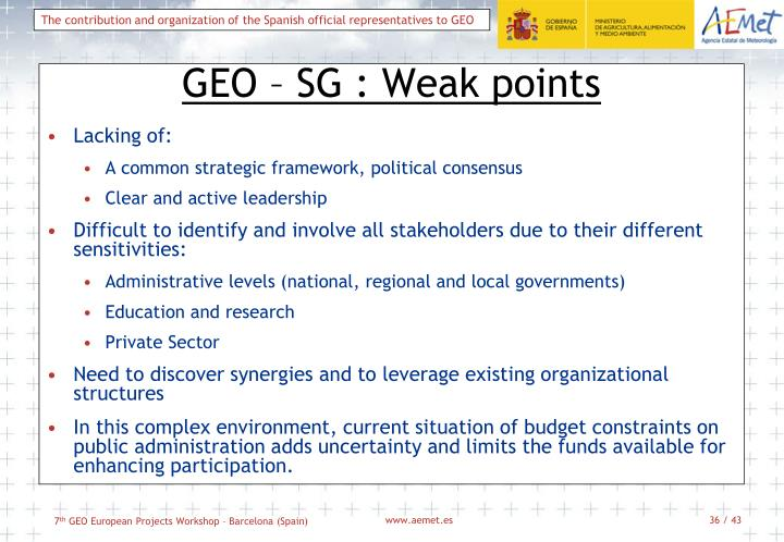 GEO – SG : Weak points