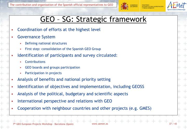 GEO – SG: Strategic framework