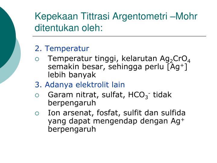 Kepekaan Tittrasi Argentometri –Mohr ditentukan oleh:
