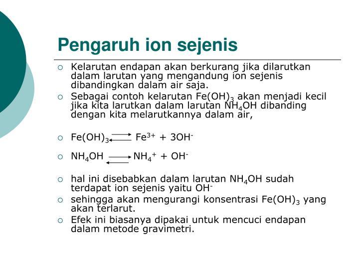 Pengaruh ion sejenis