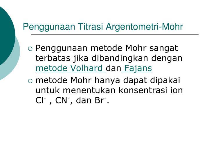 Penggunaan Titrasi Argentometri-Mohr