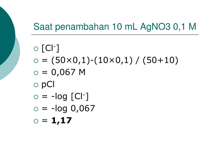 Saat penambahan 10 mL AgNO3 0,1 M