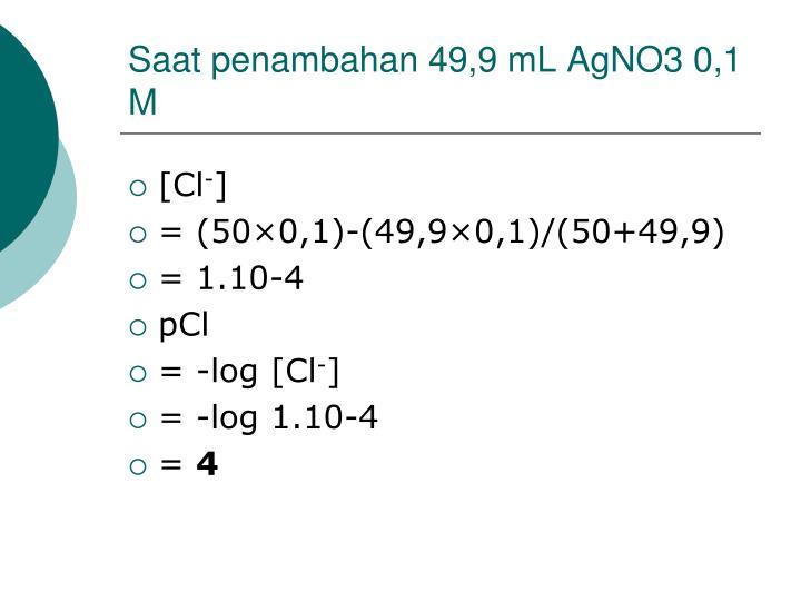 Saat penambahan 49,9 mL AgNO3 0,1 M