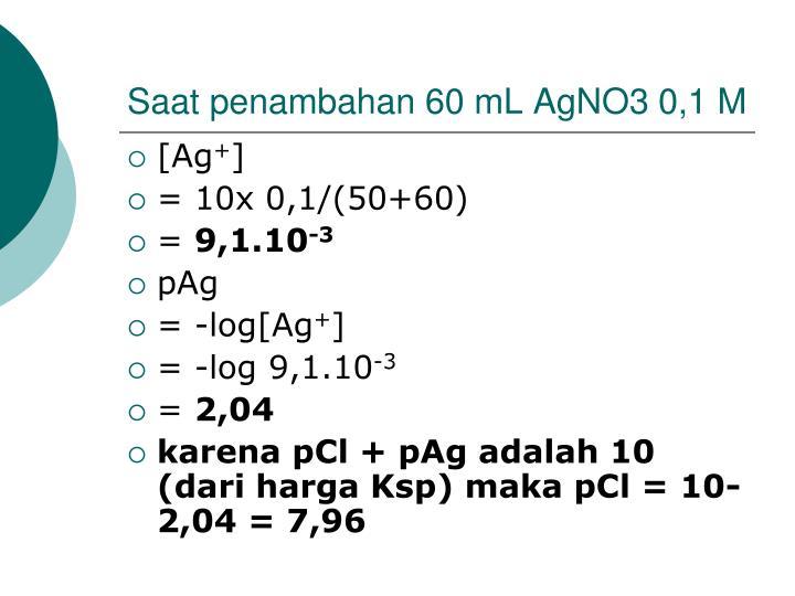 Saat penambahan 60 mL AgNO3 0,1 M