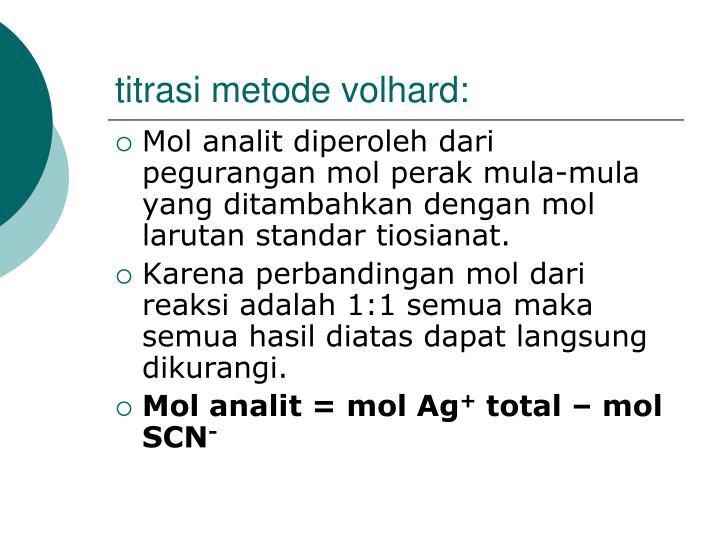 titrasi metode volhard: