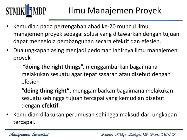 Ilmu Manajemen Proyek