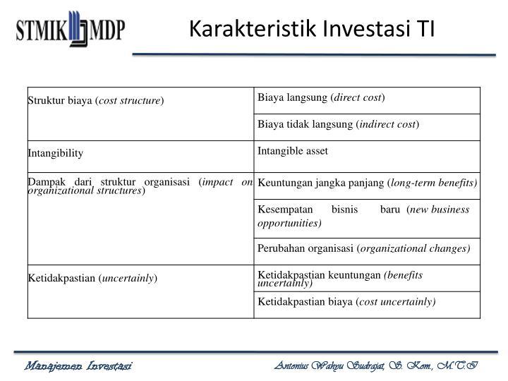 Karakteristik Investasi TI