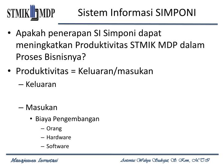 Sistem Informasi SIMPONI