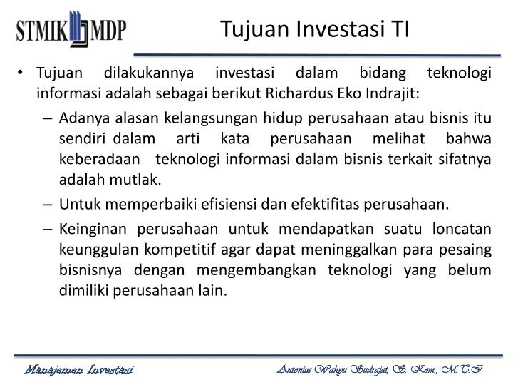 Tujuan Investasi TI