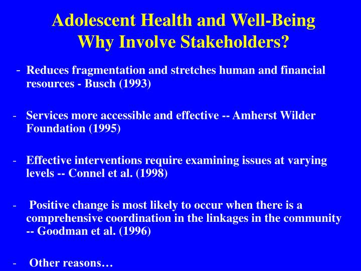 Adolescent Health and Well-Being