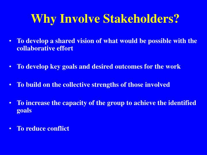 Why Involve Stakeholders?