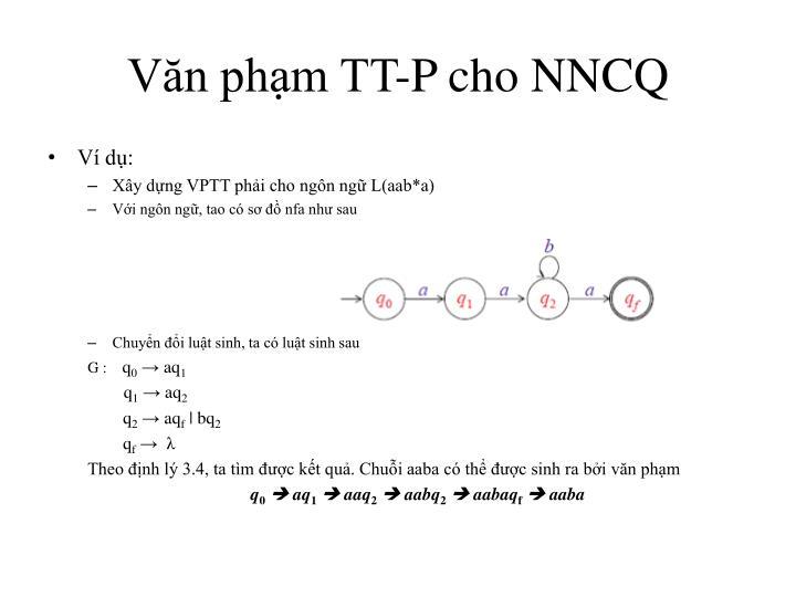 Văn phạm TT-P cho NNCQ