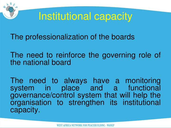 Institutional capacity