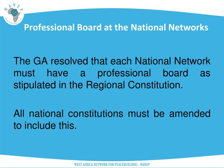 Professional Board at the National Networks