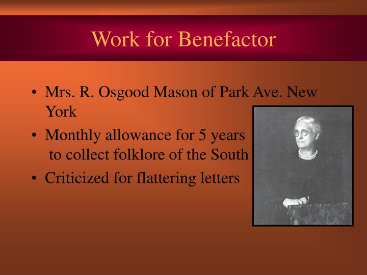Work for Benefactor