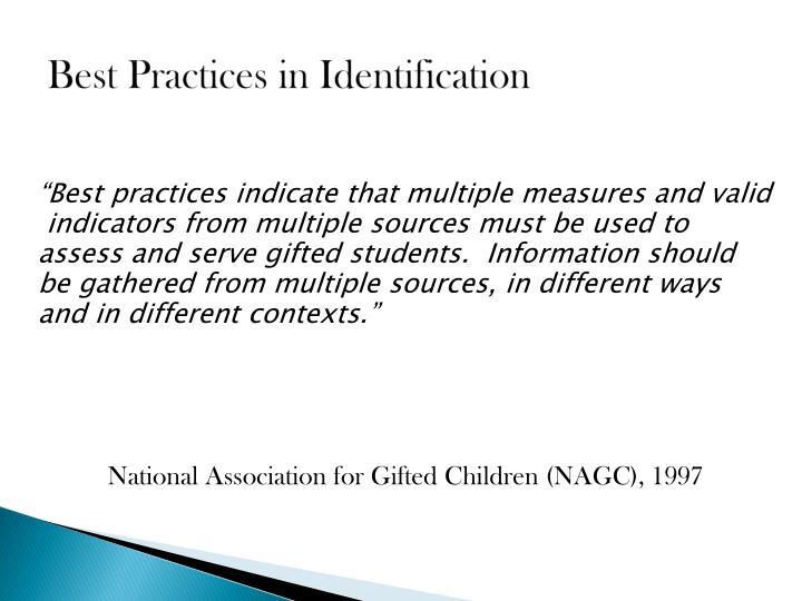 Best Practices in Identification
