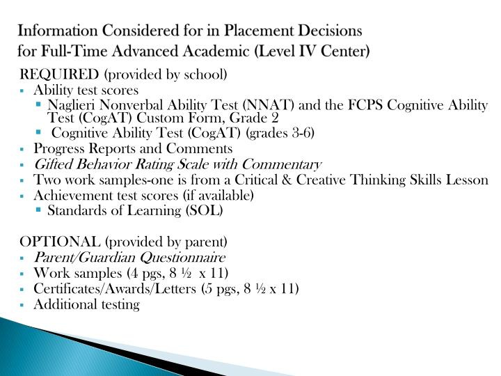 Information Considered for in Placement Decisions
