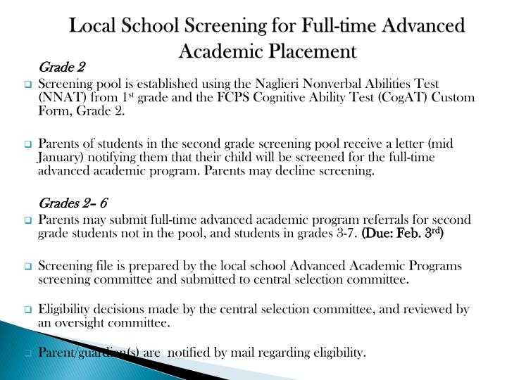 Local School Screening for Full-time Advanced Academic Placement