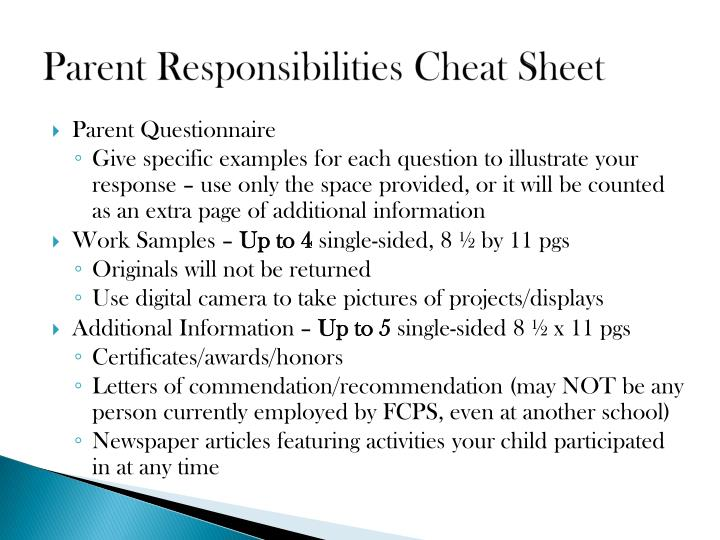 Parent Responsibilities Cheat Sheet