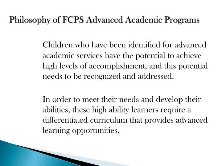 Philosophy of fcps advanced academic programs