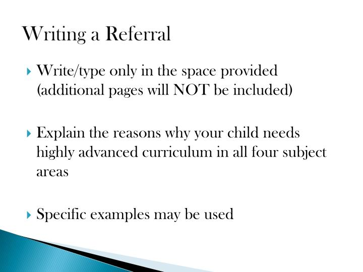 Writing a Referral