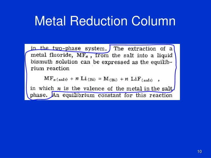Metal Reduction Column