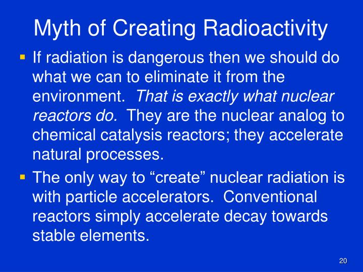 Myth of Creating Radioactivity