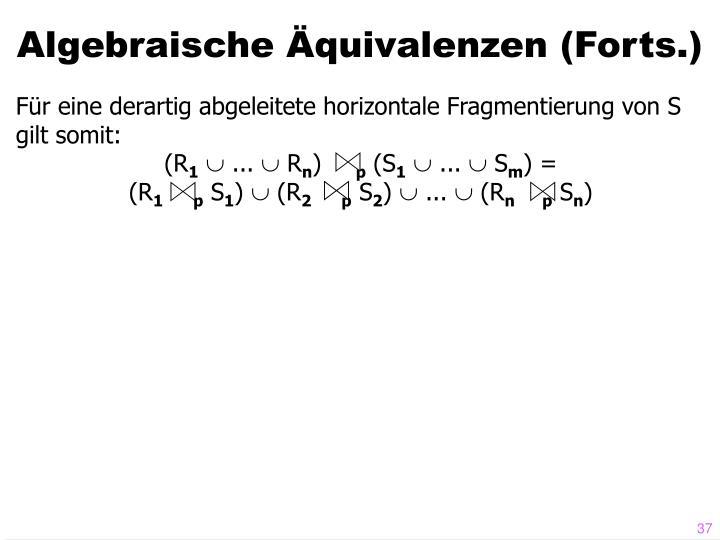 Algebraische Äquivalenzen (Forts.)