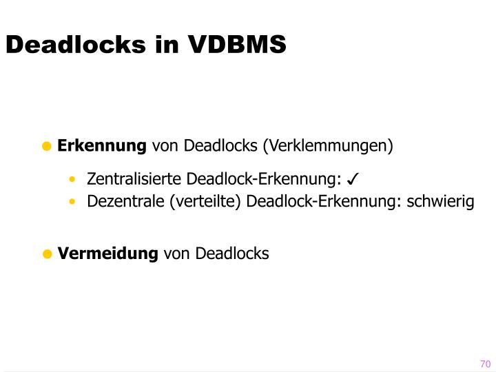 Deadlocks in VDBMS