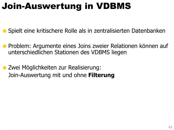 Join-Auswertung in VDBMS
