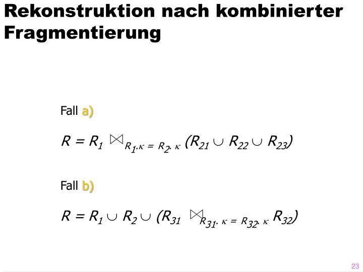 Rekonstruktion nach kombinierter Fragmentierung