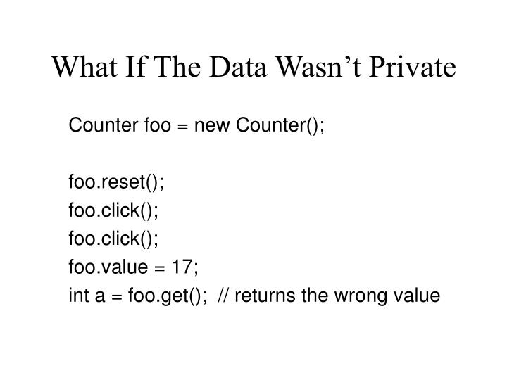What If The Data Wasn't Private