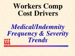 workers comp cost drivers medical indemnity frequency severity trends