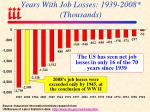years with job losses 1939 2008 thousands